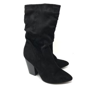 Report Sz 5.5 Indio Slouch Boots Black Faux Suede